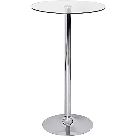 FineBuy Table Haute de Bar 60x105x60 cm Table à Manger Ronde Verre et Metal   Table Bistro Cuisine   Table Bistrot Design