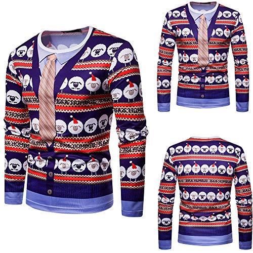 Pull Homme Noël Fantaisie Top Tricoté Col Rond Manches Longues Slim Fit Fashion Sweater Casual Sweatshirt Haut Automne Hiver Fête