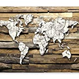 murando - Fototapete Weltkarte 400x280 cm - Vlies Tapete - Moderne Wanddeko - Design Tapete - Wandtapete - Wand Dekoration - Holz Bretter k-A-0028-a-d