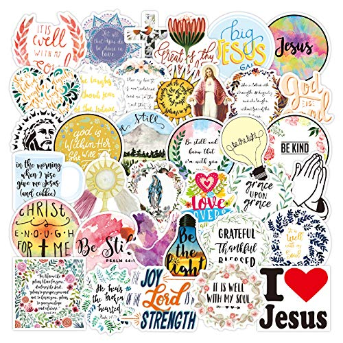 Vinyl Christian Stickers Laptop Stickers Pack 50 Pcs Jesus Faith Stickers Wisdom Words Decals for Water Bottle Laptops Ipad Car Luggages