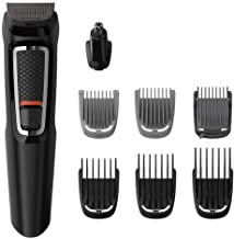 Philips Multigroom Series 3000 8-in-1 Face and Hair Cordless Trimmer with 8 Tools, Rinseable Attachments & up to 60 min Run Time, Black, MG3730/15