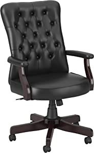 Bush Business Furniture Arden Lane High Back Tufted Office Chair with Arms, Black Leather