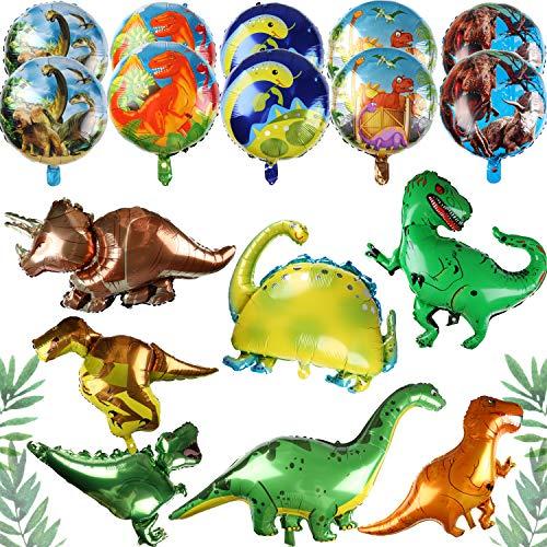 PROLOSO 17 Pack Dinosaur Foil Balloons Dinosaur Party Supplies Dino Aluminum Jumbo Balloon for Birthday Party Jungle Theme Party Decor