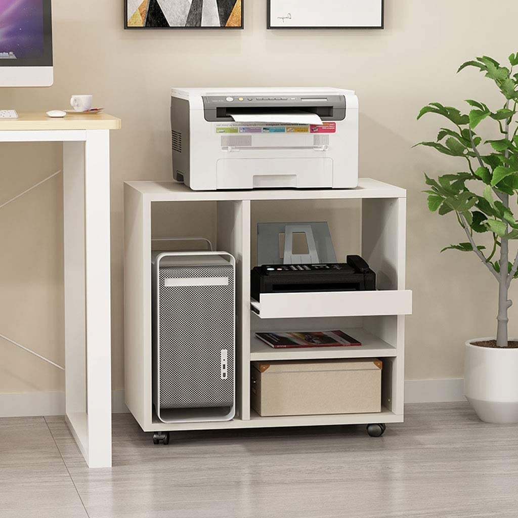 GAXQFEI Printer Stands Wooden Printer Rack Household Removable Storage Rack File Books and Magazines Desktop Computer CPU Case Storage Rack Office Side Cabinet for Home Office,White