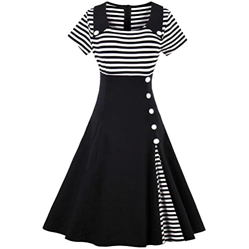 1527af9d8546 Ayli Women's Short Sleeve 1950s Retro Vintage Hollywood Party Large Swing  Midi Dress