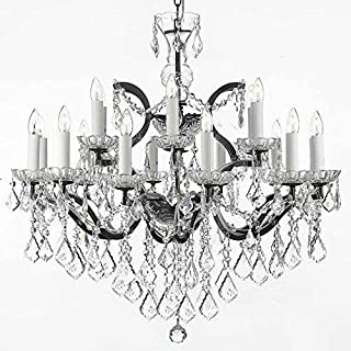 Chandelier Made with Swarovski Crystal! 19th C. Baroque Iron & Crystal Chandelier Lighting H 28