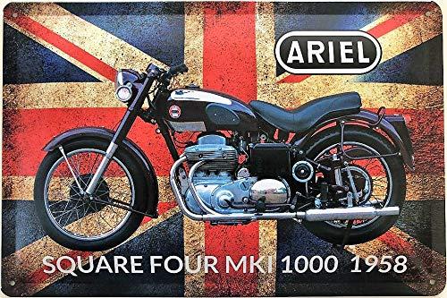 Deko7 blikken bord 30 x 20 cm motorfiets Ariel Square Four MKI 1958