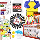 Acrylic Paint Set for Kids,66 PCS Art Supplies with Children's Brushes, Acrylic Paint, Palette, Easel, Art Smock, 8×10 inches Blank and Themed Drawing Board, Brush Cup and Sponges for Kids' Drawing