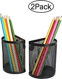 Magnetic Storage Basket Semicircle Pencil Holder Locker Organizer,Strong Magnets Mesh Pen Holder for Refrigerator Whiteboard and School Locker Accessories-2 PCS (Black)