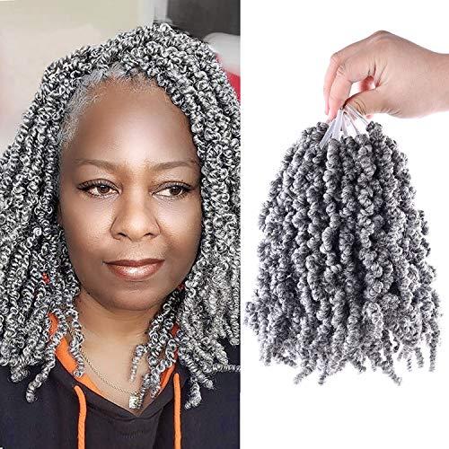 Short Wavy Pre-twisted Passion Twist Braids Synthetic Crochet Hair Extensions 3 Pieces 10 inch 45 strands Ombre Grey Spring Crochet Twist Braids Fiber Fluffy Curly Twist Braiding Hair Bulk (Grey)