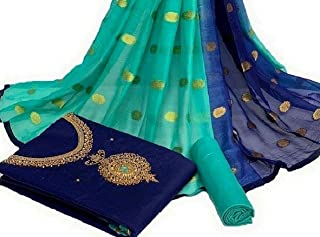 Any Designer Cotton Chanderi Khatli Handwork Unstitched Salwar Suit With Fancy Dupatta