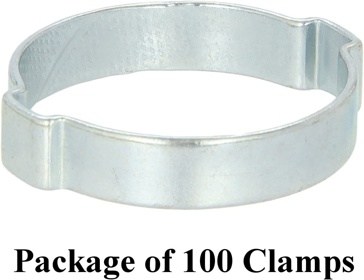 11 mm Oetiker Size 3//8 Zinc-Plated Steel Hose Clamp 100 7 Pack Double Ear Clamps