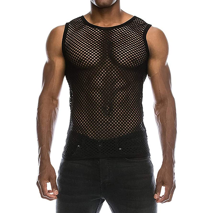 Men's Top,Sport Mesh Fishnet Fitted Muscle T-Shirt Sexy Solid Beach Tank Tops Summer O Neck Casual Blouse Tees