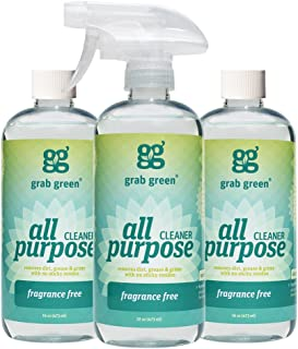 Grab Green Natural  All Purpose Cleaner Spray, Biodegradable Residue & Streak-Free Finish, Fragrance Free, 16 Ounce Bottle (3-Pack)