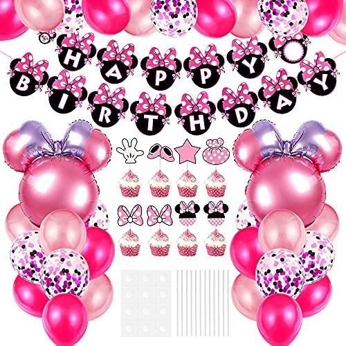 Aurasky Décorations d'anniversaire sur Le thème Minnie Kit, Ballon Minnie , Cupcake Toppers, pour Filles avec Bannière Joyeux Anniversaire, Deco Minnie, Minnie Party Supplies Rose
