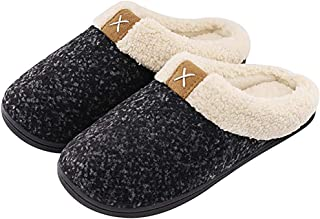 Women's House Slippers Comfort Fuzzy Wool-Like Plush Fleece Lined,Cozy Memory Foam Shoes Slip-on Clog for Indoor & Outdoor...