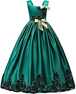 9d76cf5045c1d HUANQIUE Elégante Robe en Dentelle Princesse Demoiselle Fille Robe de  Mariage Cérémonie Soirée Enfant Broderie Fleur