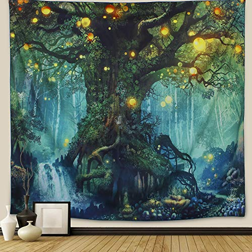 Arfbear Firefly Tree Tapestry Black Large Tablecloths Bedroom Living Room Dorm Decoration Tapestry Wall Hangings 59 X 78.7 Inches