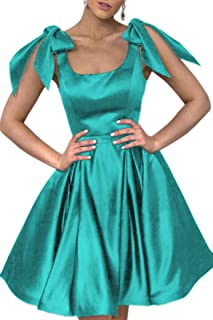 Jonlyc A Line Bowknot Satin Short Homecoming Dress with Pockets