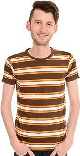 Run & Fly Mens 60's Retro Brown Engineered Striped T Shirt