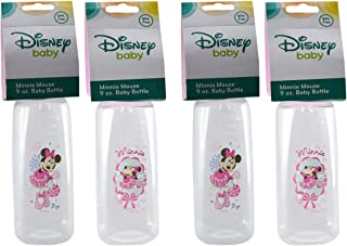 [4-Pack] Disney Baby Mickey or Minnie Mouse 9oz Baby Bottles, BPA-Free (Minnie Mouse (Pink))