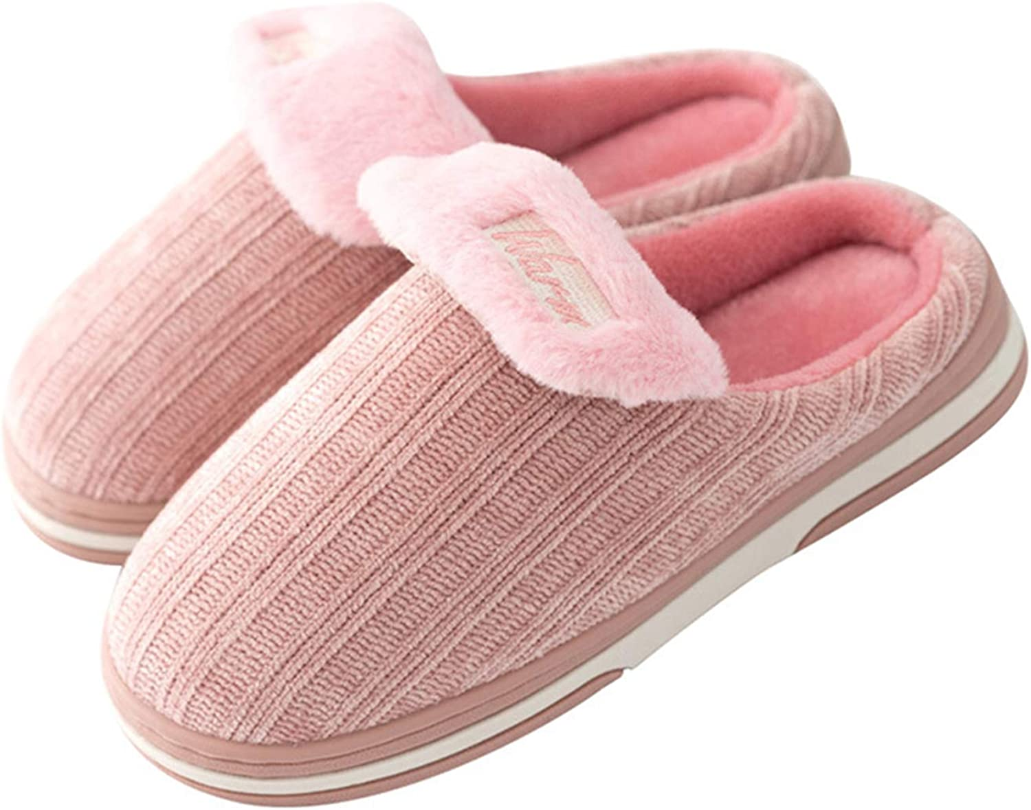 Indoor House Women's Slippers Autumn Winter Cotton Warm Comfortable shoes Anti-Slip Cute Plush Slippers,Pink
