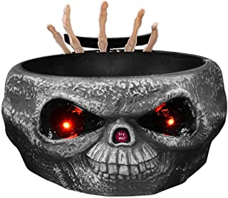 Halloween Candy Bowl with Animated Ghost Hand,Fruit Dish Holder Electric LED Eyes Trick Props Sweets Nut Bowl Trick or Treat Growing Skull Ghost Party Decoration