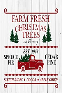 Farm Fresh Christmas Trees Winter Holiday Decorative Garden Flag, Double Sided, 12