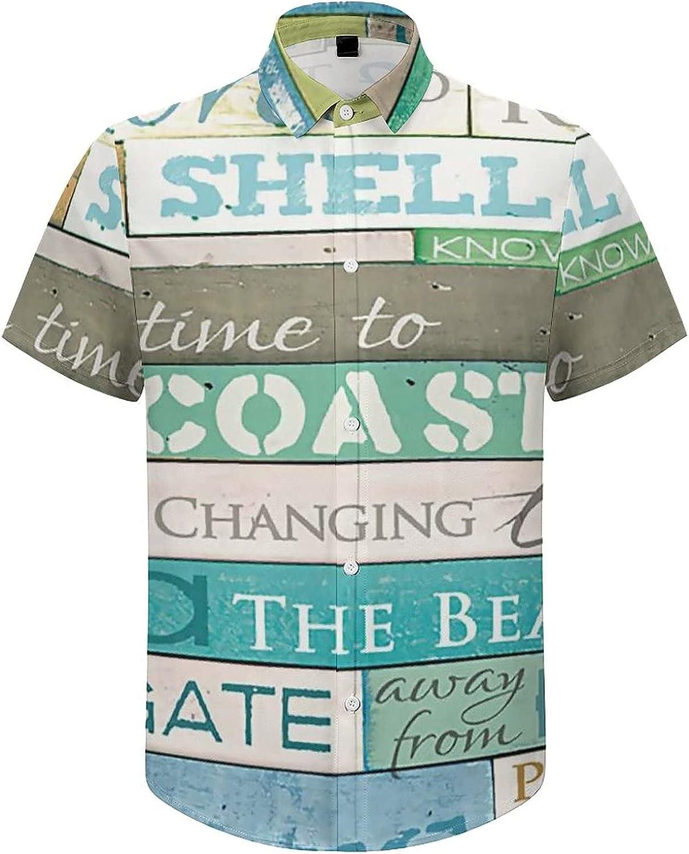 Men's Regular-Fit Short-Sleeve Printed Party Holiday Shirt Ocean Rules Bricks