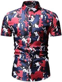 Men Camo Print Slim Short Sleeve Casual Button Up Dress Shirts Grey Small