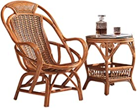 XLOO Natural Rattan Chairs with Table Outdoor Garden Furniture Sets,Patio Bistro Set,Extra Large Space, Protect The Waist, with Tempered Glass Coffee Table,for Backyard, Balcony, Porch.