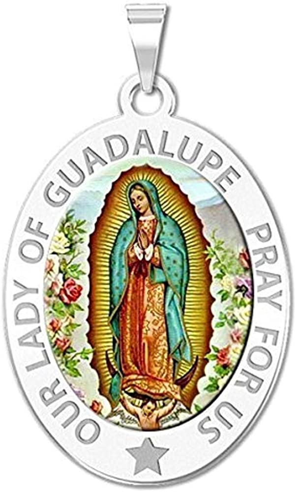 25mm x 17mm Solid 925 Sterling Silver Virgin Mary Our Lady of Guadalupe Pendant Charm Medal