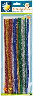 Craft Planet 300mm Glitter Chenille Stems 15 Pack in 5 Assorted Colours