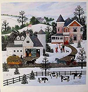 Leos Coffers Wall Art by Jane Wooster Scott Winter Pastoral Hand Signed Limited Ed. Lithograph Print. After The Original Painting or Drawing. Paper 14 Inches X 13