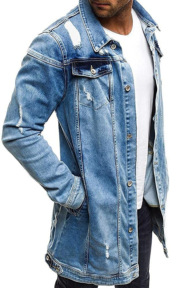 Mens Casual Distressed Jean Jackets Hippie Cowboy Motocycle Ripped Holes Button Down Denim Jacket Long Outerwear