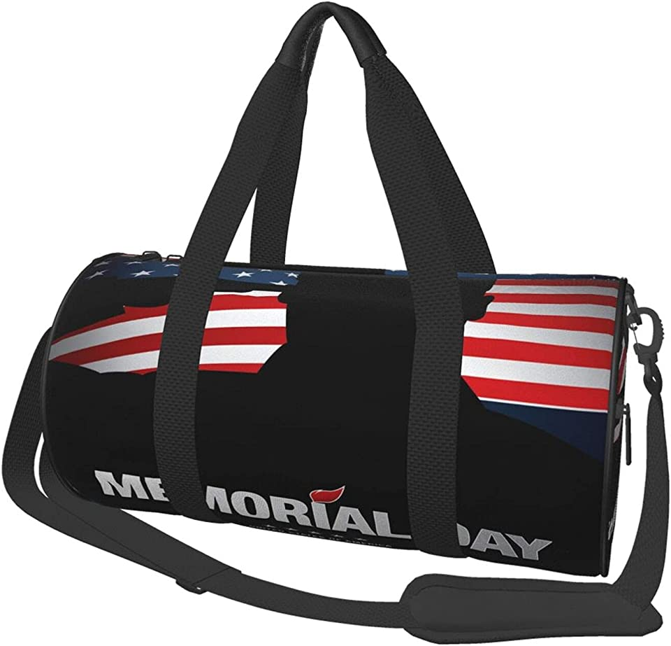 Happy Memorial Day Salute Soldier Sports Bag Mens Womens Gym Duffle Bags Yoga Canvas Cute