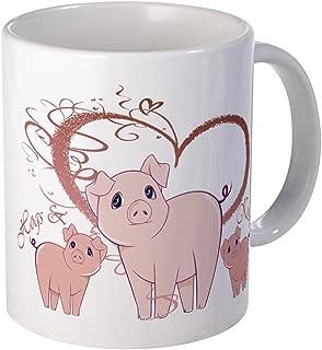 CafePress Hogs And Kisses Cute Piggies Art Mug Unique Coffee Mug, Coffee Cup