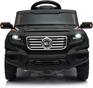 JAXPETY 6V Ride On Car Truck w/ Parent Control 3 Speeds LED Headlights MP3 Player Horn (Black)