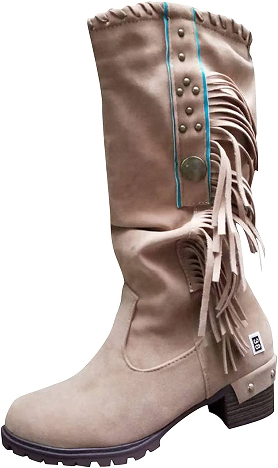 Women'S BootsEmbroidered Printed Chunky Platform Boots Round Toe ChunkyPunk BootiesRain Boots for Women Waterproof