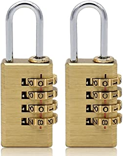 MIONI Solid Brass 2PCS Combination Lock 4 Copper Digit Padlock for Indoor and Outdoor Rustless Die-Cast