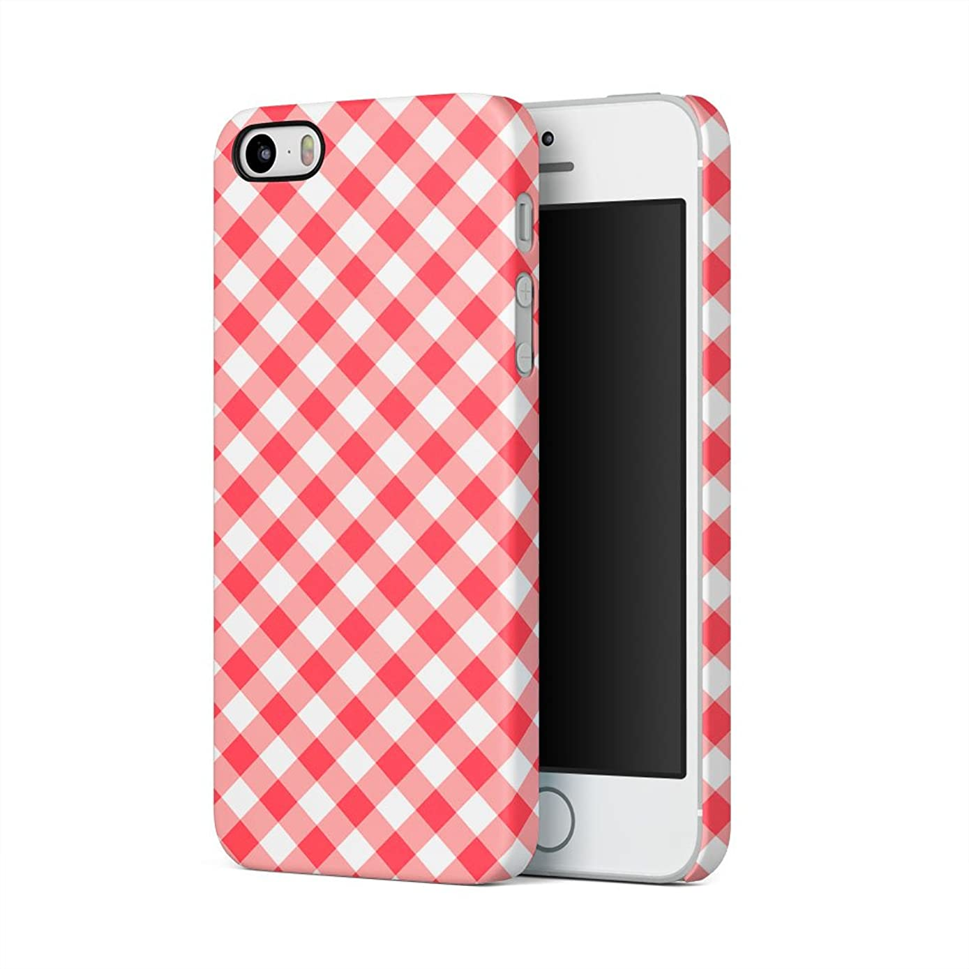 Red Vintage Checkered Tablecloth Pattern Apple iPhone 5, iPhone 5s, iPhone SE Plastic Phone Protective Case Cover