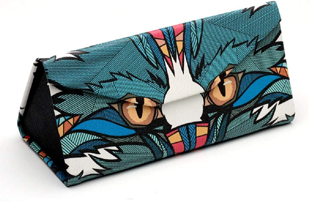 Eyeglass Case with colorful//Triangle Eyeglass Case. (Owl Pattern)