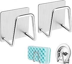 Adhesive Sponge Holder Brush Holder, Sink Caddy, SUS304 Detachable Stainless Steel Rustproof Waterproof for Sponges/Scrubb...