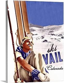 Ski Vail Colorado Vintage Advertising Poster Canvas Wall Art Print, 12