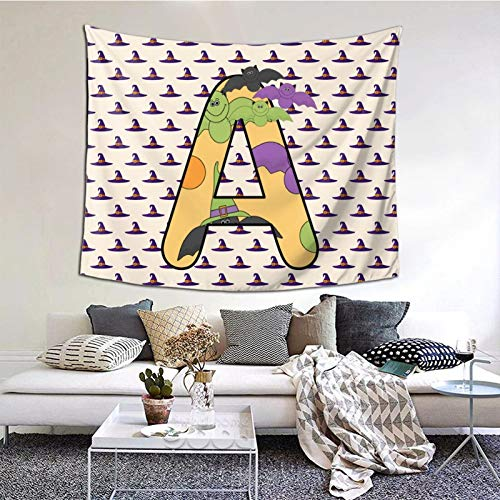 HARTG Halloween Clipart Letter A 60×51 Inch Tapestry Wall Hanging, Wall Art Decoration for Living Room Bedroom Home Decor