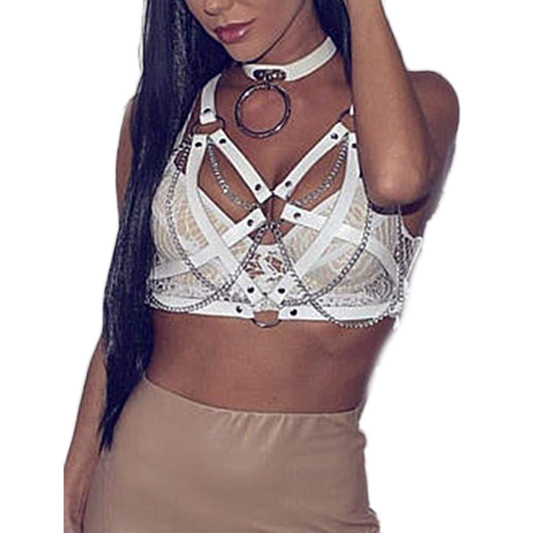 Bodiy Punk Goth Body Chain Bra Leather Harness Wasit Belly Bikini Chains Belt Jewelry Accessories for Women and Girls (White)