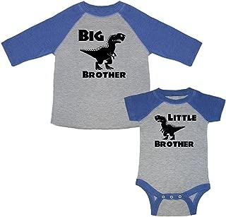 Big Brother Dinosaur T-Rex & Little Brother Dinosaur T-Rex Matching Baseball Kids T-Shirt & Bodysuit Set