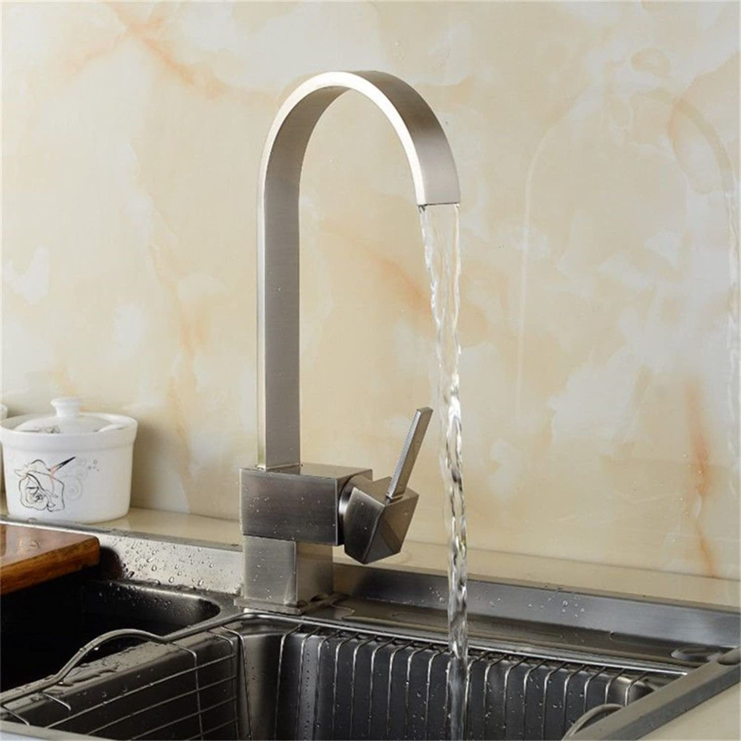 AQMMi Basin Sink Mixer Tap for Lavatory Brass Brushed Single Hole Hot and Cold Water Valve Bathroom Vanity Sink Faucet