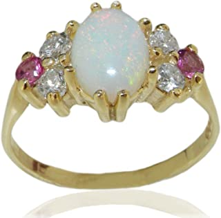 bc5e2536698104 10ct Yellow Gold Natural Opal Diamond & Pink Tourmaline Womens Ring