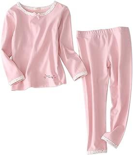 Girls Pajamas Sleepwear 2-Piece Cotton Long-Sleeved Top and Pant Clothing Set